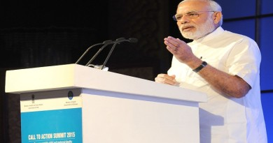 "The Prime Minister, Shri Narendra Modi delivering the keynote address at the Global ""Call to Action"" Summit 2015, in New Delhi on August 27, 2015."